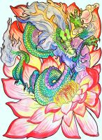 Lotus flower dragon by jupiterjenny