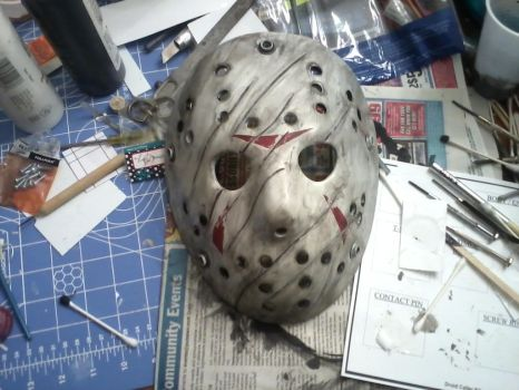 Completed Jason Voorhees mask weather by BuckarooProps