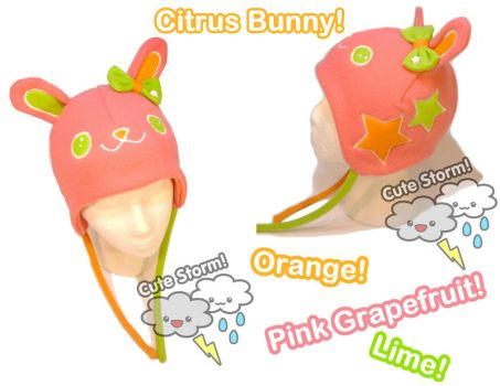 Citrus bunny hat with bow by The-Cute-Storm