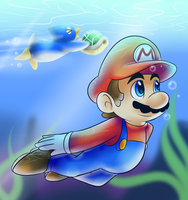 Mario Galaxy beach by raygirl12