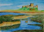 Bamburgh castle and beach by davepuls