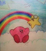Kirby Rainbow in the Sky by LaughingKirby