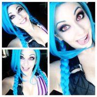 jinx makeup test/ progress by Its-Raining-Neon