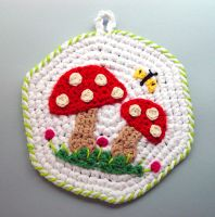 Crochet Mushrooms Pot Holder by meekssandygirl