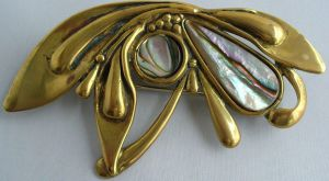 Vintage Brass and Abalone Shell Brooch by sevvysgirl