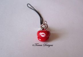 Mario Hat Cap Cellphone Charm 2 Nintendo by TorresDesigns