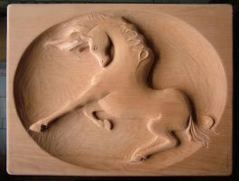 Horse , Relief Wood by ayhantomak