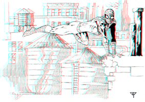 Spidey on the rooftops in 3D Anaglyph by xmancyclops
