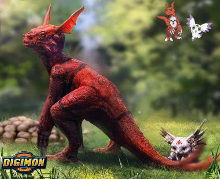 Digimon: Guilmon and Calumon by LindseyWArt