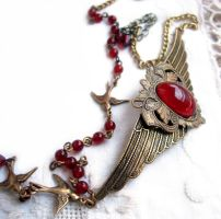 Birds and Berries Necklace by Aranwen