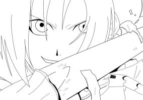 FMA Edward Elric line-art by naruto-hinata-fan-1