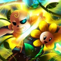 Sans and Flowey by Jacky-Bunny