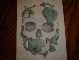 Skull and Leaves by Freddyferd