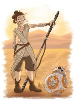 Rey and BB-8 by alliemackie
