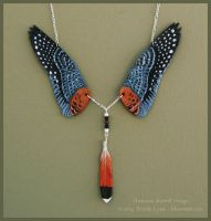 American Kestrel Wings II - Leather Necklace by windfalcon