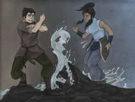 Korra and Bolin by SpottedNymph