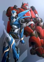 [TFP]Cliffjumper and Arcee by Mr-SO