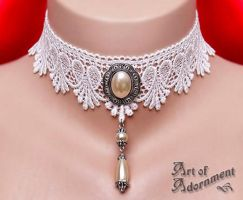 Champagne Pearl Lace Choker by Valerian