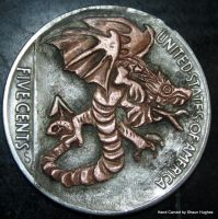 Dragon Sailor Jerry Tattoo Hobo Nickel by shaun750
