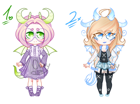 ///OPEN/// DRAGON HUMAN CHIBI ADOPTABLES by Ovxy