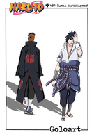 Saske and Tobi.  naruto 487. by Goloart