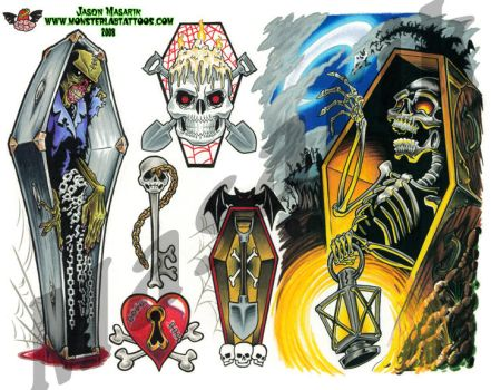 Tattoo Flash sheet 7 by JasonMas