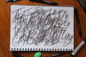 practicing brush lettering by RainbowFoxOfDeath