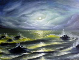 Sea at night by oilart