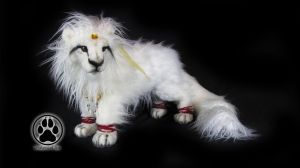 Amaterasu the sun goddess lion poseable artdoll! by CreaturesofNat