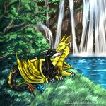 Cuddles by a waterfall by Aponder