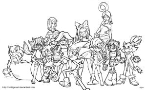 Sonic's Women - new line art by HolliGenet
