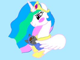 Request~ Celestia hold baby Viper by Pandalove93