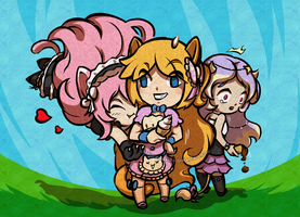 Maid trio [kemonomimi OCs] in the Zelda-TWW style by MajorasMasks