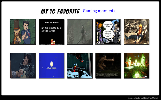 10 Favorite Gaming Moments (SPOILERS) by niani362