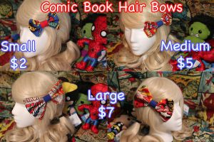 For Sale Comic Book Hair Bows by SugarBunnyCosplay