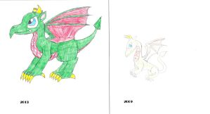 Art style time comparison Anole light dragon by anolelightdragon