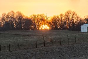 Warm sunset on a cold day by sequential