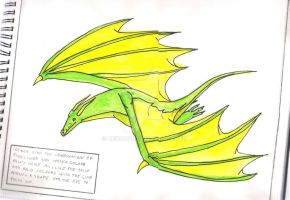 My first water-colour dragon.. by Denodon