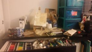 My workspace by PalimpsestMixedMedia