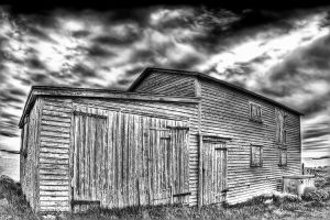 Seaside Barn HDR B and W by Witch-Dr-Tim