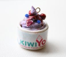 Mixed Berry Frozen Yogurt Polymer Clay Miniature by ChroniclesOfKate