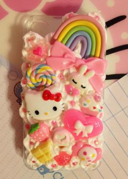 Rainbow and Hello Kitty Decoden Cellphone Case by pinkDudu