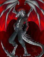 Red and Silver Dragon by Dreamkeepers