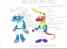 two of my neopets sonic style by Mighty-C-amurai