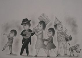 Troupe of traveling entertainer by oku5y