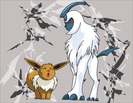 Absol and Eevee Precious by DrTran08