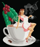 Coffee Pin-up by XonkArts