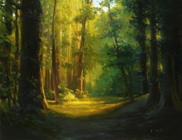Michael Mao - In The Forest by OilPaintersofAmerica