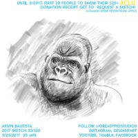 Arvin Bautista Sketches 2017 32/100: Gorilla by greasypigstudios