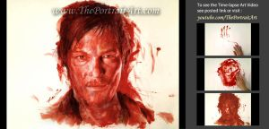Daryl Dixon Portrait Drawing with Blood by theportraitart